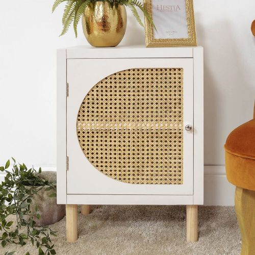 White Rattan Front Retro Cupboard Storage Unit